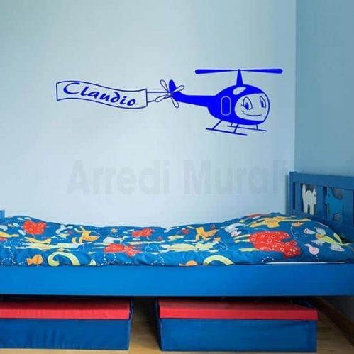Adesivi murali bambini aeroplano con nome