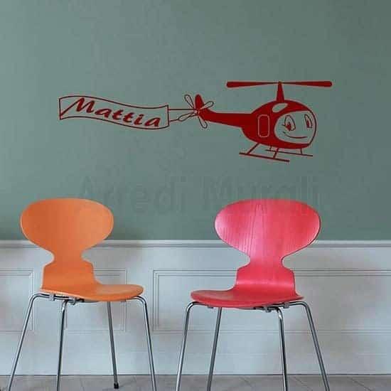Adesivi murali bambini aeroplano decoro da cameretta