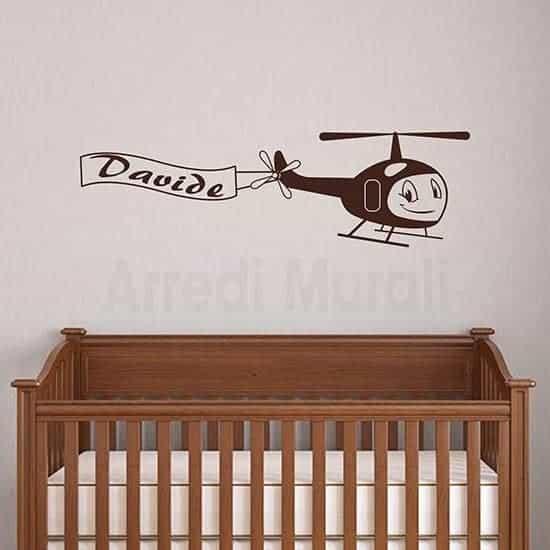 Adesivi murali bambini aeroplano per la cameretta di un bimbo con nome personalizzato
