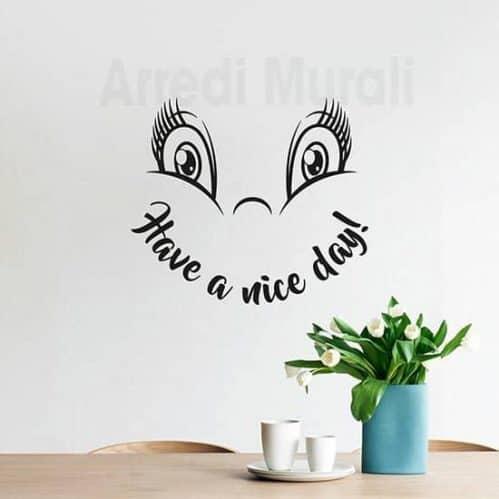 Adesivi murali buona giornata faccina con scritta inglese