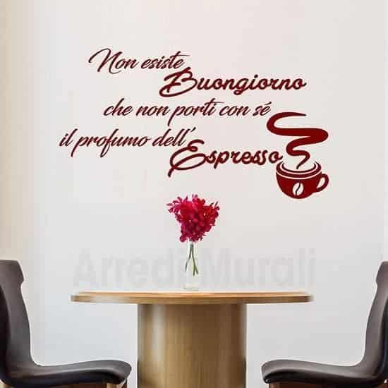 Adesivi murali buongiorno per bar o cucina scritta adesiva bordeaux