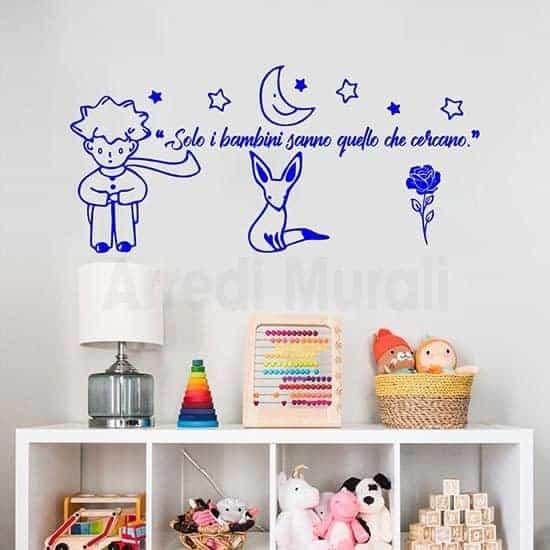 Adesivi murali citazione Piccolo Principe frase adesiva azzurro