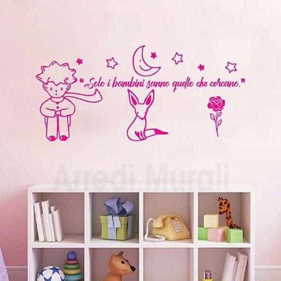 Adesivi murali citazione Piccolo Principe frase bimbi fucsia