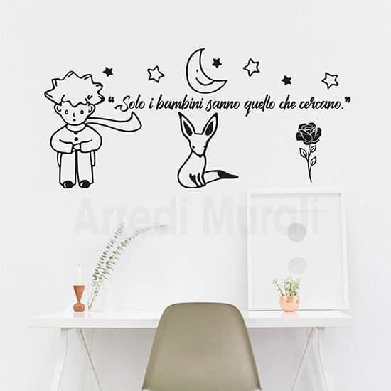 Adesivi murali citazione Piccolo Principe frase dedicata ai bambini colore nero