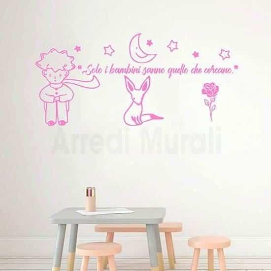 Adesivi murali citazione Piccolo Principe frase adesiva bimbe colore rosa