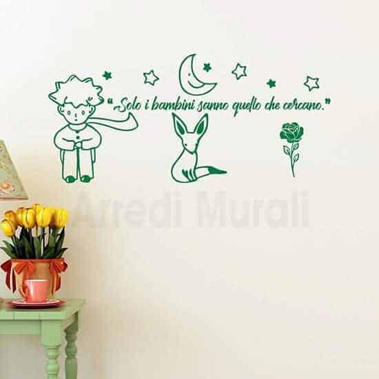 Adesivi murali citazione Piccolo Principe colore verde frase e disegni adesivi