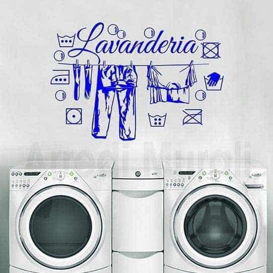 adesivi murali lavanderia con scritta e simboli del bucato
