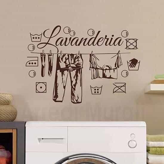 adesivi murali lavanderia con disegni adesivi dei simboli del bucato