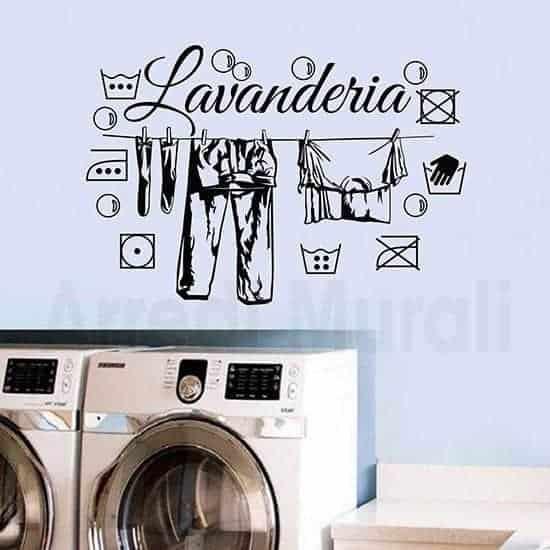 adesivi murali lavanderia con simboli e bucato steso