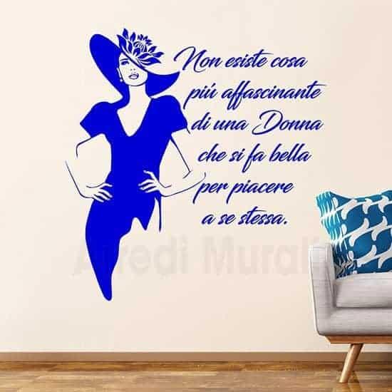 Adesivi murali scritta decorativa bellezza donna azzurro