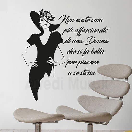 Adesivi murali scritta decorativa bellezza donna nero