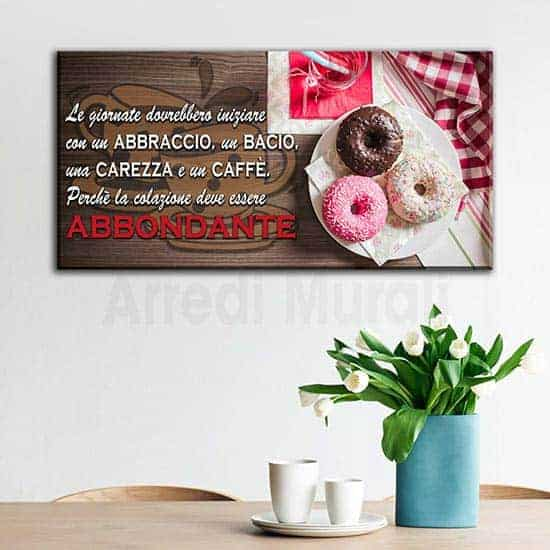 Quadro con frase colazione per arredo cucina con stampa su tela