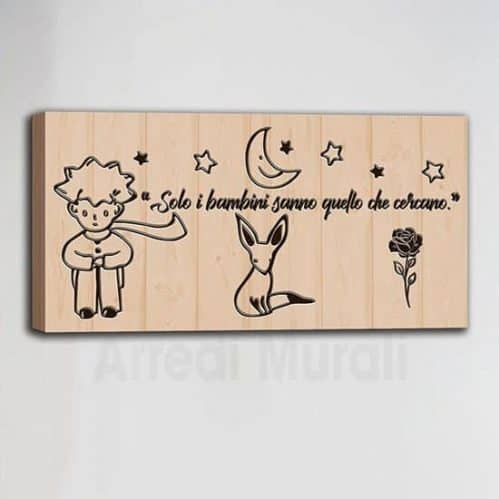 quadro con scritte del Piccolo principe frase dedicata ai bambini