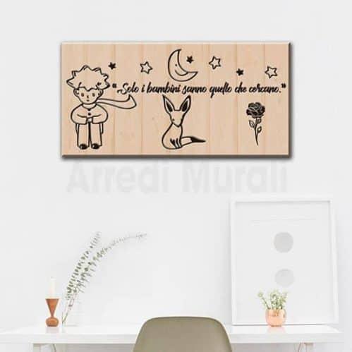 quadro con scritte del piccolo principe senza cornice e con frase dedicata ai bambini