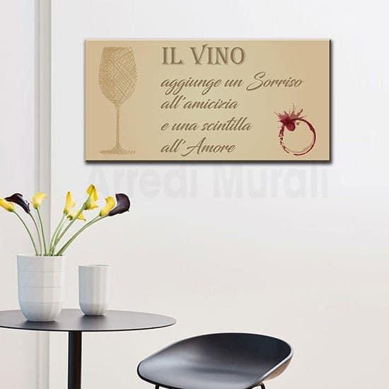 Quadro cucina con frase sul vino stampa su tela senza cornice