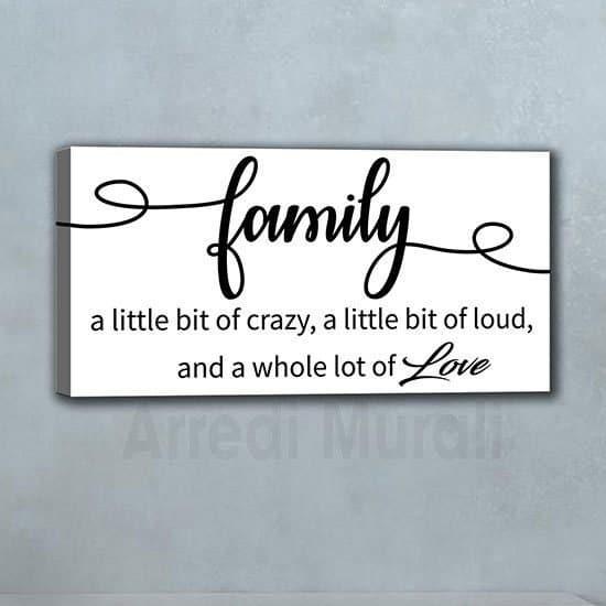 quadro frase family con scritte in inglese dedicate alla famiglia