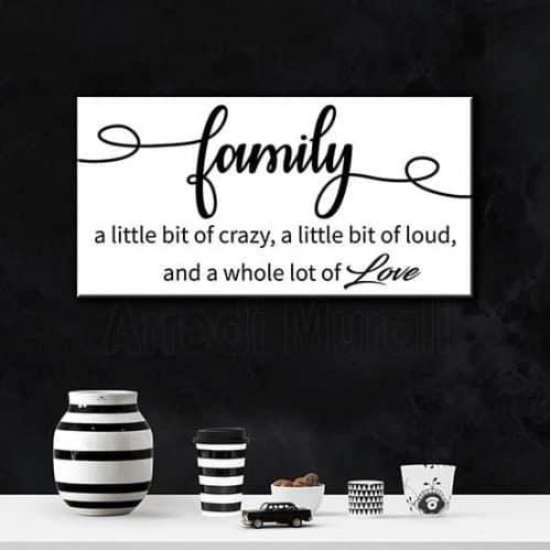 Quadro frase family con scritte in inglese