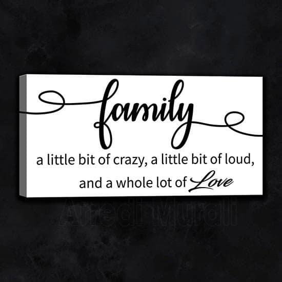 quadro frase family con scritte inglesi dedicate alla famiglia