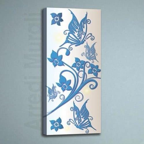 quadro moderno farfalle e fiori stampa su tela