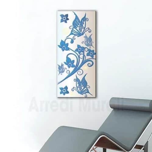 quadro moderno farfalle e fiori in disposizione verticale