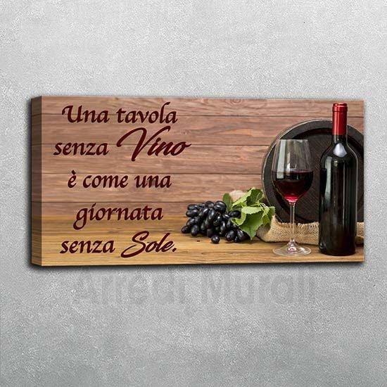 quadro moderno frase vino stampa su tela
