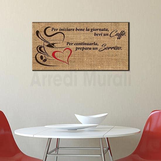quadro per cucina o per bar con frase caffè in stile moderno