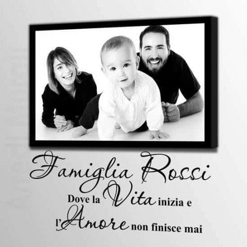 Quadro personalizzato foto famiglia e adesivi murali scritta famiglia