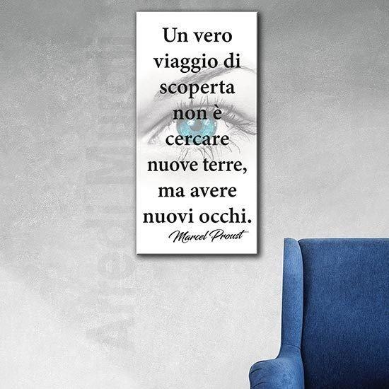 Quadro verticale con scritte citazione Proust