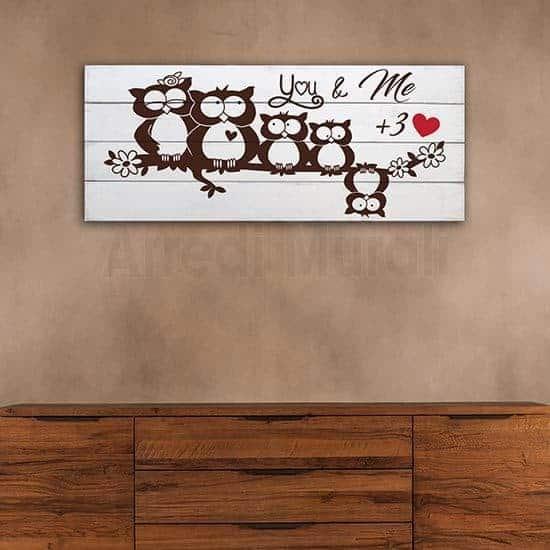 Shabby chic decorazione in legno con famiglia di gufetti
