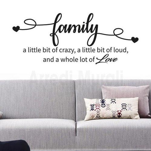 Stickers da parete frase family decorazioni adesive da muro