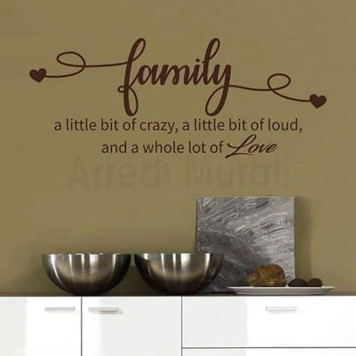 Stickers da parete frase family decorazione da parete adesive