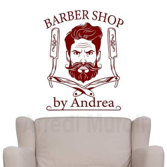 adesivi murali barber shop da personalizzare