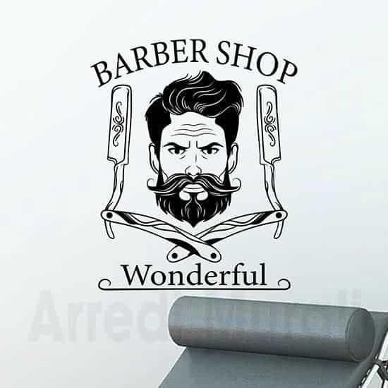 adesivi murali barber shop personalizzati con nome negozio o con il tuo nome