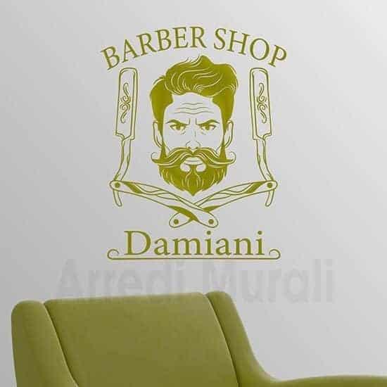 adesivi murali barber shop personalizzati con nome o cognome