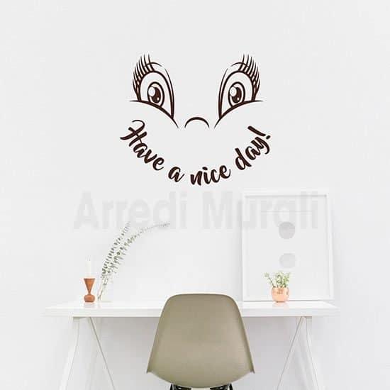 Adesivi murali buona giornata con scritta inglese e faccina
