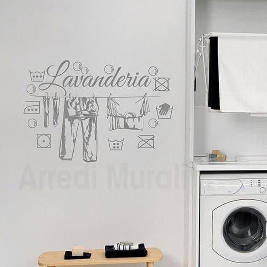 adesivi murali lavanderia con disegni adesivi dei simboli del bucato e scritta adesiva