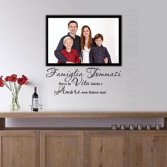Quadro personalizzato foto famiglia e adesivi murali cognome famiglia