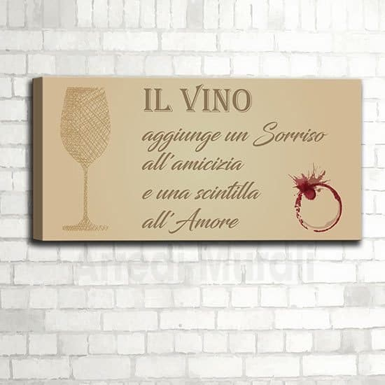 Quadro cucina con frase sul vino senza cornice con stampa su tela