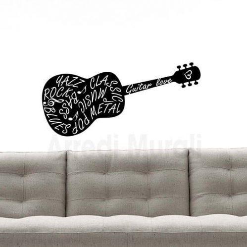 Adesivi murali chitarra nero