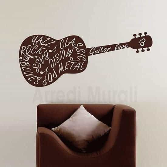 Adesivi murali chitarra marrone