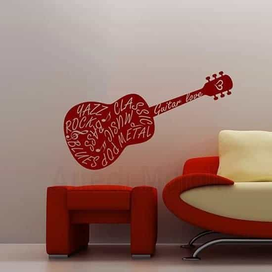 Adesivi murali chitarra rosso