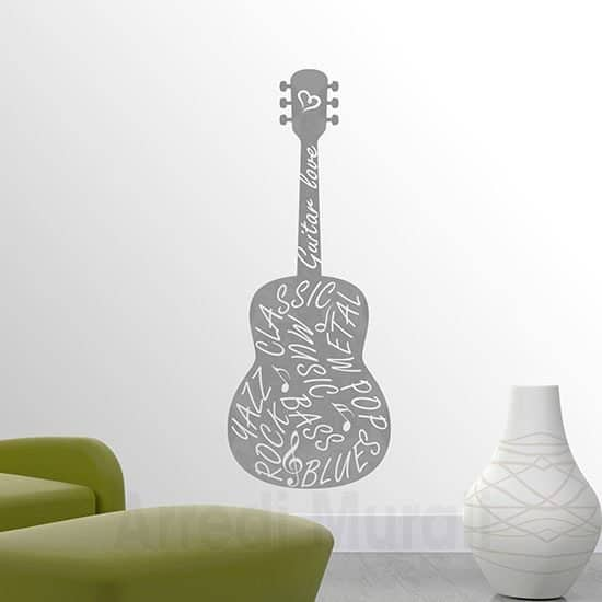 Adesivi murali chitarra argento