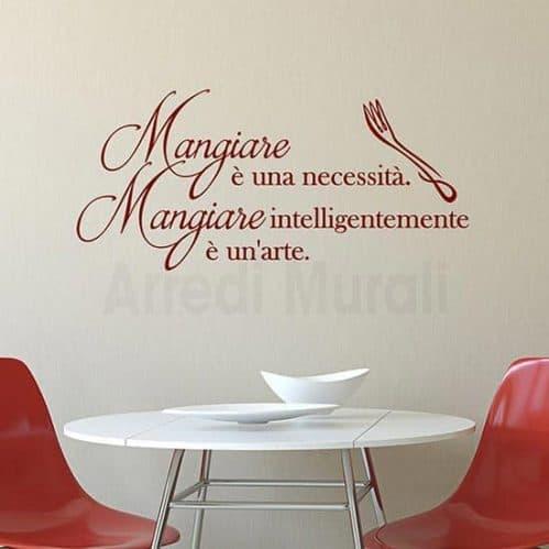 Adesivi murali cucina frase mangiare di de La Rochefoucauld rosso
