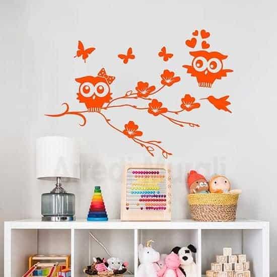 Adesivi murali gufetti arancione