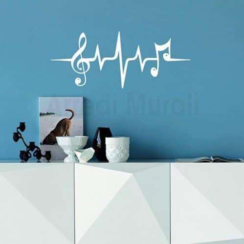 Adesivo da parete con note musicali bianco