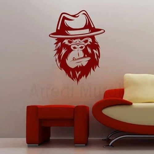 Disegno adesivo gorilla in stickers murali rosso