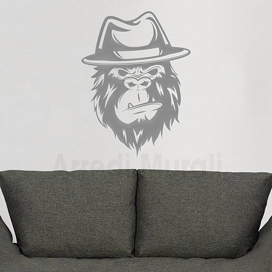 Disegno adesivo gorilla in stickers murali argento