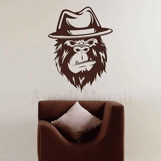 Disegno adesivo gorilla in stickers murali marrone