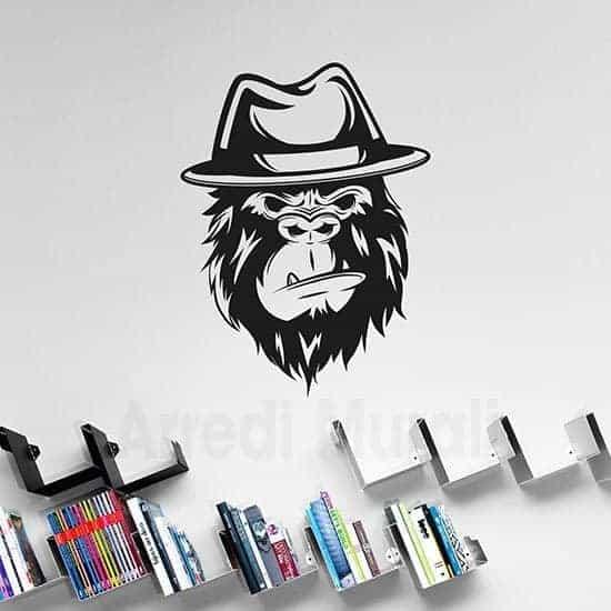 Disegno adesivo gorilla in stickers murali nero
