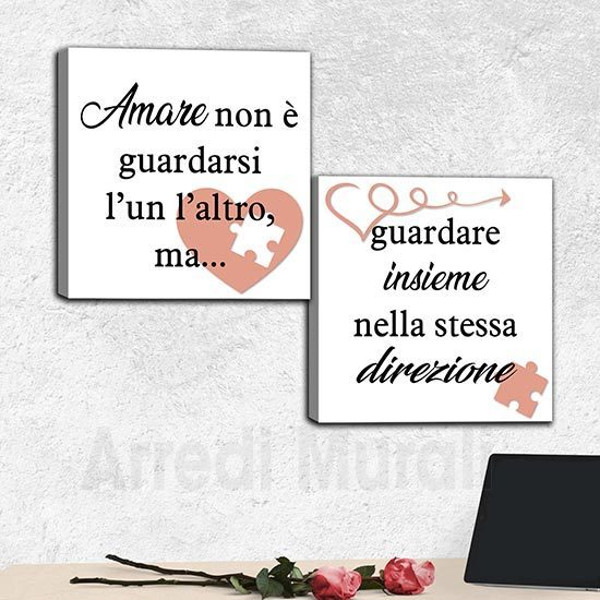 Quadri su tela frase sull'amore di Antoine de Saint-Exupéry